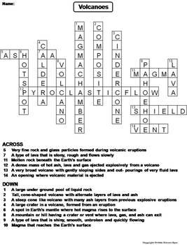 Volcanoes Worksheet/ Crossword Puzzle