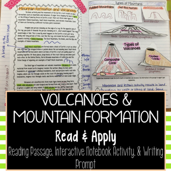 Volcanoes and Mountain Formation Reading Comprehension Interactive Notebook