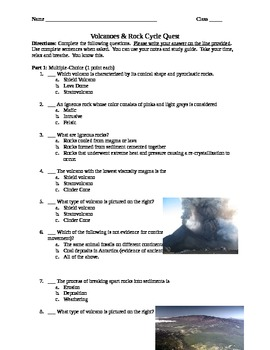 Volcanoes and Rock Cycle Quiz
