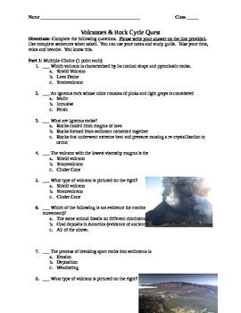 Volcanoes and Rock Cycle Quiz