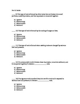 Volcanoes and Rocks Test