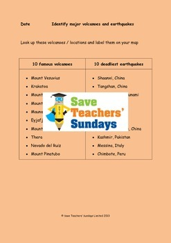 Volcanoes and Earthquakes Atlas Lesson Plan and Worksheet