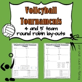 Volleyball 4 and 5 Team Round-Robin Tournament Layouts