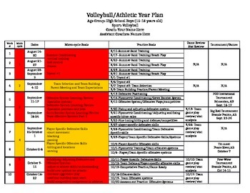 Volleyball/Athletics Season Planner