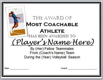 Volleyball Awards Certificates - 9 Diffferent Awards and Nomination Ballots