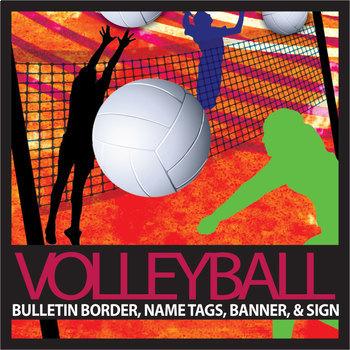 Volleyball Bulletin Border, Editable Name Tags & Banner, a