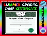 Volleyball Camp Certificate - Editable