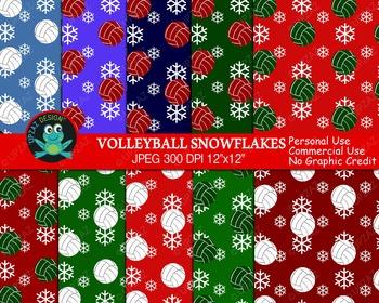 Christmas Volleyball Digital Papers (Upzaz Digital Clipart)