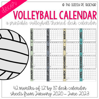 Volleyball Calendar 2020 Volleyball Desk Calendar by The Sassy PE Teacher | TpT