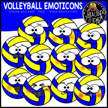 Volleyball Emoticons Clipart Set {Educlips Clipart}
