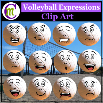 Volleyball Expressions Clipart | Sports Ball Emotions Clip Art