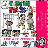 Volleyball clip art - LINE ART- by Melonheadz