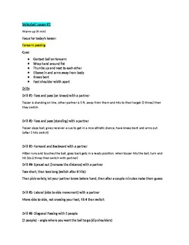 Volleyball Lesson Plans 1 and 2