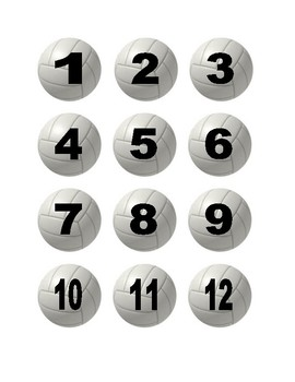 Volleyball Numbers for Calendar or Math Activity