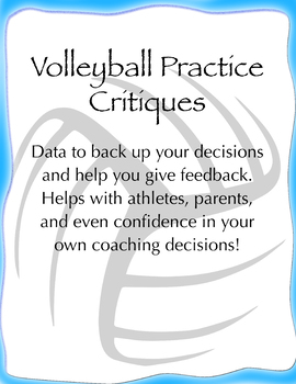 Volleyball Practice Data Sheets (could also be used for tryouts)