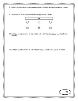 Volleyball Quiz (Includes Key)