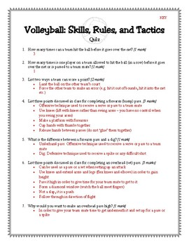 volleyball quiz includes answer key by ms gs teaching