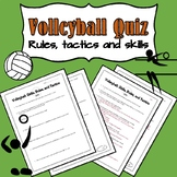 Volleyball Quiz (Includes Answer Key)