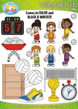 Volleyball Sports Kid Characters Clipart {Zip-A-Dee-Doo-Dah Designs}