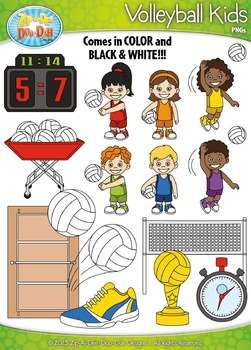 Volleyball Sports Kid Characters Clipart Set Set — Include