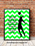 Volleyball Poster, Green Sports Themed Classroom Decor