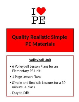 Volleyball Unit - 6 Lesson Plans - Elementary PE