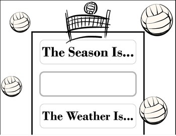 Volleyball Weather Chart! Volleyball Bulletin Board! Volleyball Sports Theme!