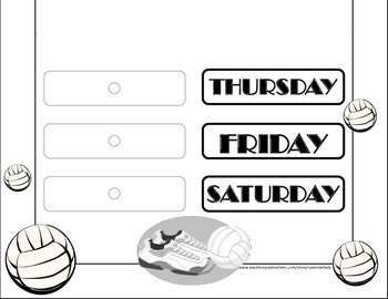 Volleyball Weekday Chart! Volleyball Bulletin Board! Volleyball Theme! Sports!