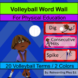 Volleyball Word Wall: Skills, Equipment and Terminology - 20 Terms