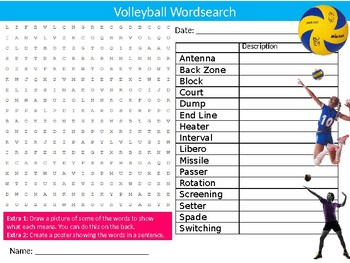 Volleyball Wordsearch Sheet Starter Activity Keywords Cover Physical Education