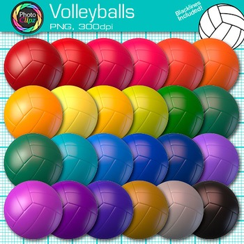Rainbow Volleyball Clip Art {Sports Equipment for Physical Education Teachers}