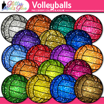 Rainbow Volleyball Clip Art {Sports Equipment for Physical Education Teachers}