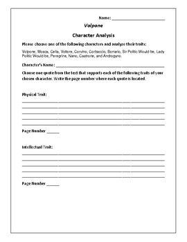 Volpone Character Analysis Activity - Ben Johnson