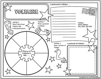 Voltaire Timeline Poster Acrostic Poem Activity with Reading Passage