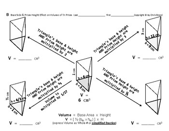 Volume 08:  Calculating Vol + Base & Height's Effect on Volume Triangular Prisms