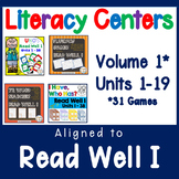 Read Well 1 Activity Bundle Literacy Centers Units 1 thru 19 Volume 1