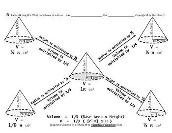 Volume 12: Calculating Volume + Radius & Height's Effect on Volume of Cones