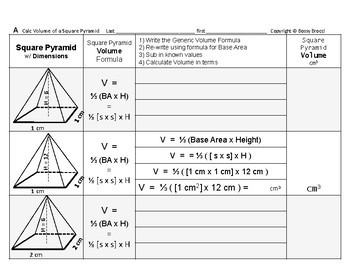 Volume 15: Volume of Square Pyramids + How Base Side & Hei