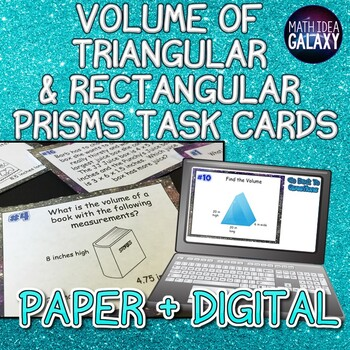 Volume of Rectangular and Triangular Prisms Task Cards