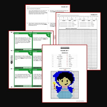 Liquid Volume 4th Grade Measurement Word Problems Coloring Worksheets