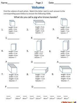 Volume - 3 No-Prep Printables!  Find the Volume to answer a Riddle!