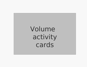 Volume Activity Cards (common core aligned)
