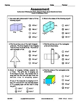 Volume And Surface Area Assessment