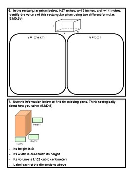 Volume Assessment 5.MD3, 5.MD.4, 5.MD.5