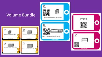 Volume Bundle-Volume Scoot, QR Code Volume Task Cards, QRCode Vol Scavenger  Hunt