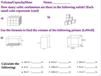 Volume Capacity Mass Assessment Test