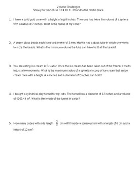 Volume Challenge--Higher Order Thinking Volume Word Problems