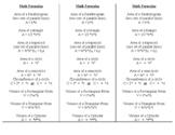 Volume, Circumference, Volume formula sheet