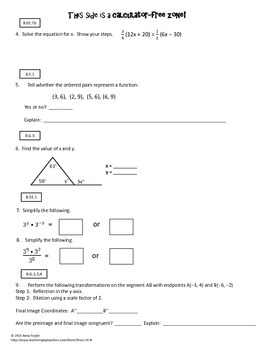 Volume Cone Pythagorean Theorem 8.G.9 Common Core Spiraling Practice Test Prep