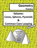Volume Cone Sphere 8.G.9 Pyramid Common Core Spiraling Practice Test Prep